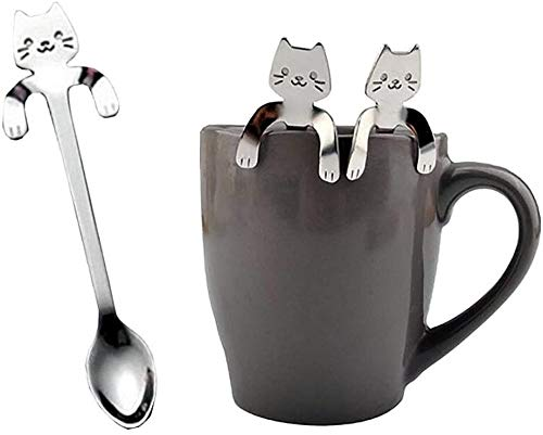 OYEFLY 1 Piece Cute Cat Spoon Long Handle Spoons Flatware Drinking Tools Kitchen Gadget (Silver)
