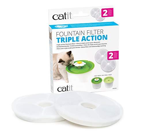 Catit 2.0 Triple Action Filter, 3fach wirksamer Ersatzfilter, Trinkbrunnenfilter, 2er Pack