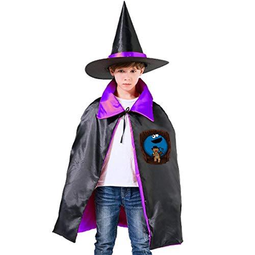 NUJSHF Indiana Jones Krümelmonster Lebkuchenmann Mix Unisex Kinder Kapuzenumhang Cape Halloween Party Dekoration Rolle Cosplay Kostüm Outwear