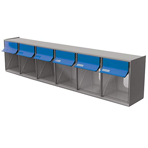 Ideal Security TB62GB Inc, 6 Plastic Storage, Stackable Organizer for Everything from DIY to Crafts Tilt Bin G2, Grey