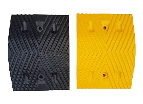 RSB-215MBY-D Rallentatori Stradali in Gomma Nera e Gialla Parte Mediana 25x35x5cm (Pacco da due)