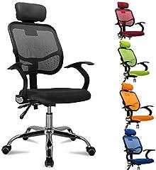 femor chaise de bureau, chaise de bureau ergonomique, fauteuil de chef avec roulettes, chaise tournante de bureau avec appui-gorge réglable, appui-tête, accoudoir et dossier, réglage en hauteur, jusqu'à 130kg, noir