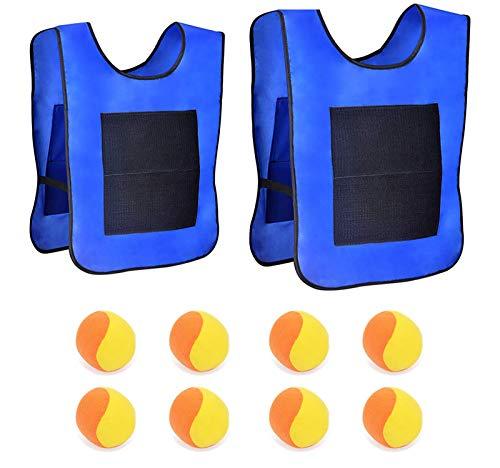 kitchen-dream 2 Chalecos de Tiro con 8 Bolas de algodón Juego de Objetivo de Lanzamiento Juego de Chaleco de Velcro con Bola de Tiro (Azul)