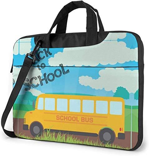 Maletín Funda para Ordenador Portátil Regreso al autobús Escolar Portadocumentos Maletines y Bolso Bandolera para Portátil 13/14/15.6 Pulgadas