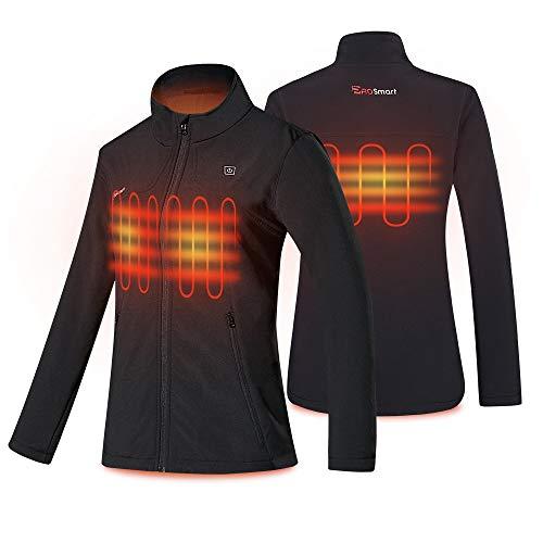 PROSmart Veste Chauffante pour Femme Veste Imperméable avec Batterie 12v (XL, Noir)