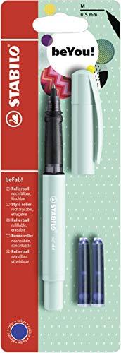 Penna Roller - STABILO beFab! Pastel in Turchese - 3 Cartucce Blu incluse
