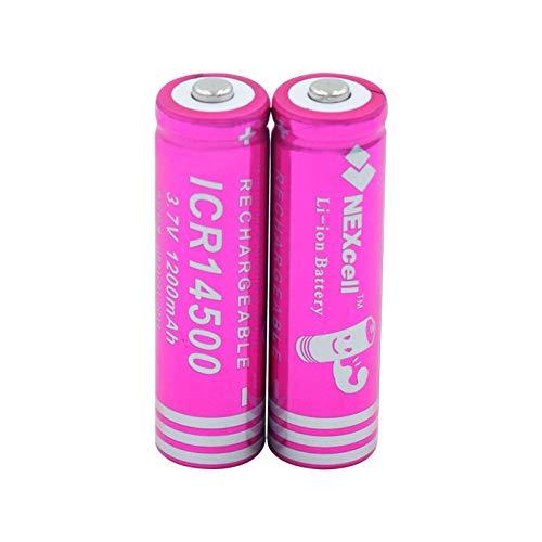 MNJKH BateríAs De Iones De Litio De Litio De 3.7v 1200mah 14500, Batería Recargable para El Banco del Poder De La Linterna del LED 2pieces