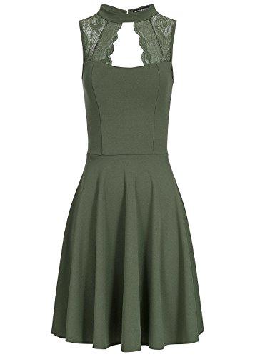 Styleboom Fashion® Damen Kleid Spitze Oben Brustpads ärmellos Military grün, Gr:XXL