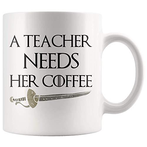 Game of Thrones Fan Art Teacher Tribute - Taza de regalo para profesor, divertido regalo para profesor
