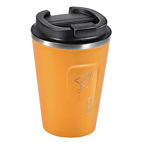Taza térmica KUSSN - taza de café para llevar 100% a prueba de fugas - acero inoxidable 350 ml con aislamiento de doble pared para café - taza de viaje - taza de viaje sin BPA (naranja)