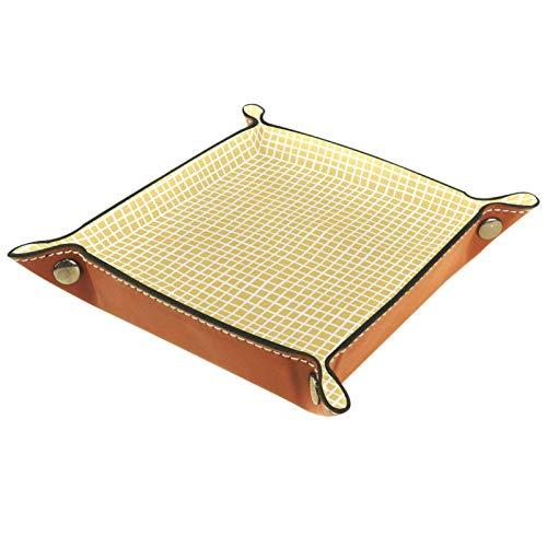 Bandeja de dados, plegable de cuero para dados, para juegos de dados, D&D y otros juegos de mesa, cuadros amarillos de ganso