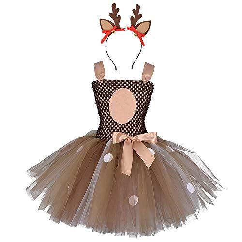IMEKIS Disfraz de Papá Noel, sombrero de Papá Noel, jirafa de reno, sin mangas, hecho a mano, con volantes, tutú de tul con diadema, disfraz de princesa de Navidad, cosplay