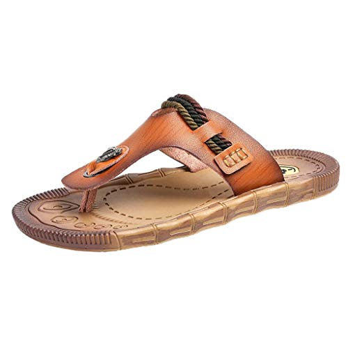 SANFASHION Herren Pantoletten Sommer Mode Flache Strand Sandalen Outdoor Skid Schuhe Roman Flip Flop