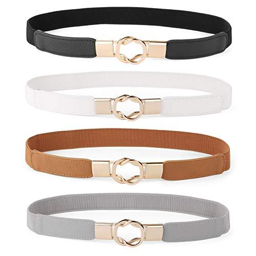 Women Skinny Belt for Dresses Retro Stretch Ladies Waist Belt Plus Size Set of 4(Fits Waist 25-31 Inches,Black+Brown+White+Gray)
