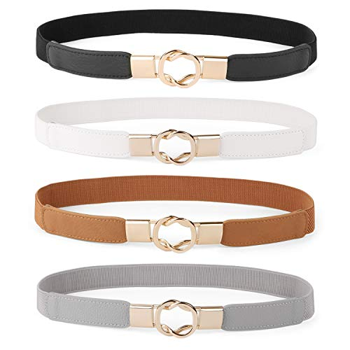Women Skinny Belt for Dresses Retro Stretch Ladies Waist Belt Plus Size Set of 4(Fits Waist 33-42 Inches,Black+Brown+White+Gray)