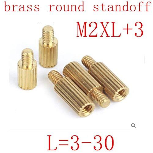 50 piezas M2 * L + 3 L = 3 mm a 30 mm 2 mm rosca macho a hembra Espaciador de separador redondo de latón M2 Espaciador roscado de latón, m2x30 MF