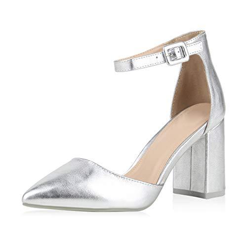 SCARPE VITA Damen Spitze Pumps Chunky High Heels Party Schuhe Wildleder-Optik Abendschuhe Elegante Metallic Absatzschuhe 177255 Silber 39
