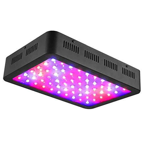 WAKYME 600W LED Pflanzenlampe, Einstellbar Volles Spektrum Doppelschalter Pflanzenlicht mit Thermometer Feuchtigkeitsmonitor und Leistungsstarkem Kühlsystem Gemüse und Blumen Zimmerpflanzen