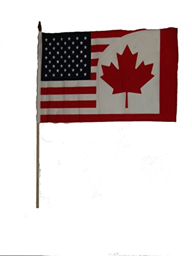 ALBATROS 12 inch x 18 inch (6 Pack) USA American Canada Stick Flag with Wood Staff for Home and Parades, Official Party, All Weather Indoors Outdoors