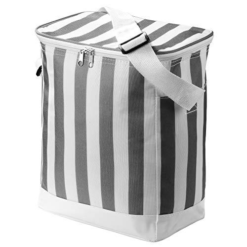 IHOMAGIC Isolierte Lunchpaket Kühltasche 14L Langlebige Multifunktional Kühler Fresh Lunchpaket Frozen oder Warm Handtasche, Tragetasche für Outdoor Arbeit für Picknick Camping Reise, Grauer Streifen