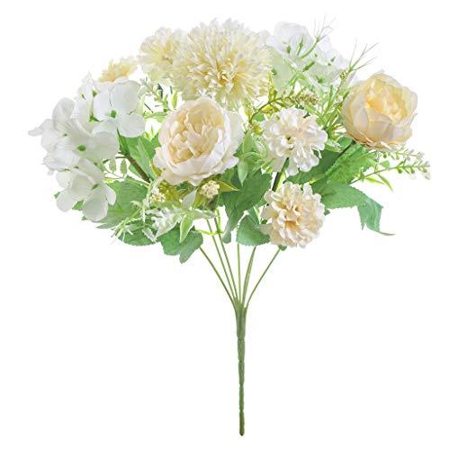 Lovefei - Fiori finti di peonia artificiali, in seta artificiale, bouquet di ortensie, decorazione realistica, fiori per matrimoni, centrotavola, 2 confezioni Champage/Wite