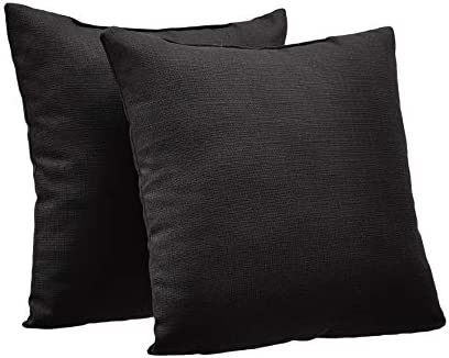 Amazon Basics 2 Pack Linen Style Decorative Throw Pillows 18 Square Black product image