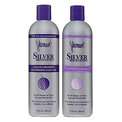 Jhirmack Silver Brightening Purple Shampoo and Conditioner Set for all types of silver, grey, and blonde hair by Jhirmack