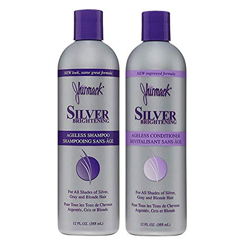 Jhirmack Silver Brightening Purple Shampoo and Conditioner Set for all types of silver, grey, and blonde hair