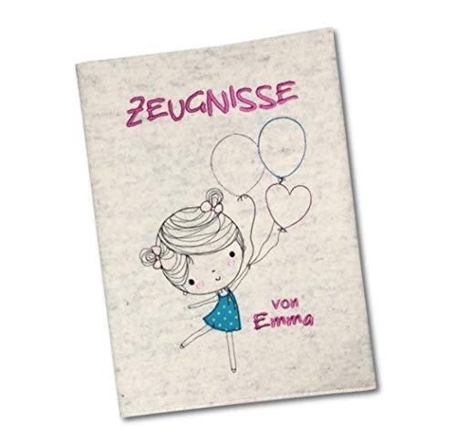 Goldi-Design Zeugnismappe mit Wollfilzumschlag - Mädchen mit Luftballons - 100% Wollfilz - Mit Namen -