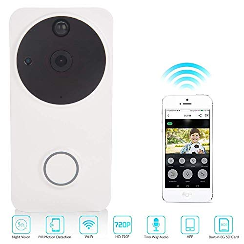 YANGSANJIN Ring video deurbel met camera Smart Wireless WiFi 720 HD video deurbel camera telefoon 166° super groothoek nachtzicht Home