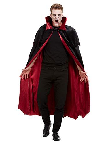 shoperama Capa de vampiro forrada de terciopelo con cuello alto para hombre y mujer, capa de Halloween, accesorio de disfraz