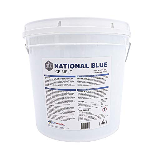 National Blue Ice Melt 20lb Bucket - Fast Acting Ice Melter - Pet, Plant and Concrete Friendly, Environmentally Safe - Free of Magnesium Chloride - Melts to -15°F