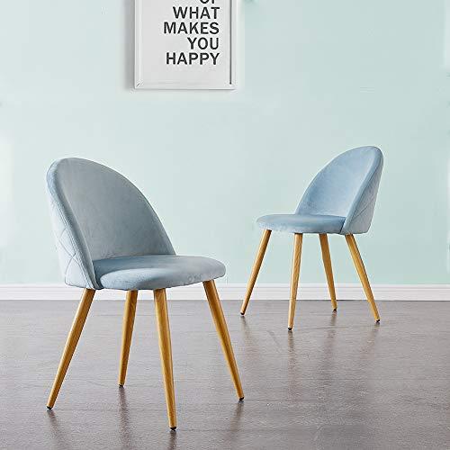 CLIPOP Juego de 2 sillas de comedor tapizadas de terciopelo con respaldo y patas de transferencia de metal para comedor, la sala de estar y el dormitorio, terciopelo, azul