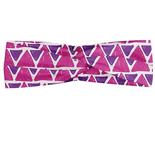 ABAKUHAUS Abakuus Bandana en forme de triangle avec pinceaux, motif abstrait, élastique et confortable pour tous les jours, violet et rose