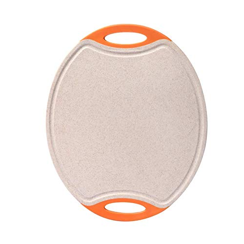 Scherpe raad Oval plastic keuken, fruit brood, voedingssupplement for baby's snijplank met groove en sap handvat A chopping board (Color : Orange)