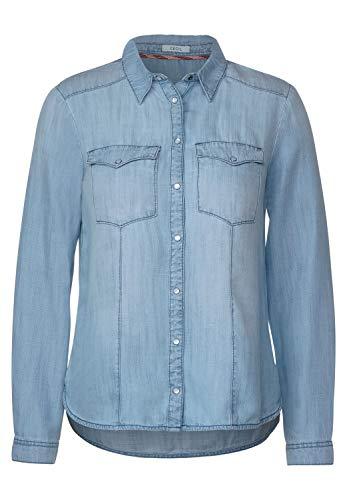 Cecil Damen Hemdbluse aus Lyocell hüftbedeckend Hemdblusenkragen mid Blue Used wash M