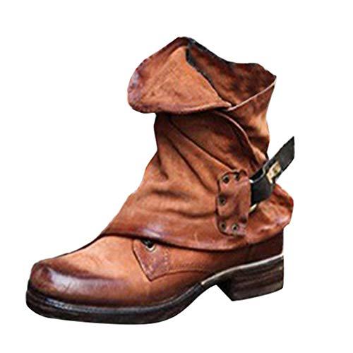 Minetom Damen Stiefeletten Worker Boots Übergrößen Khaki 38 EU