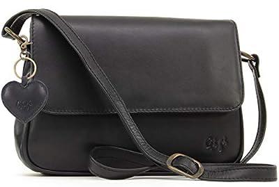 Gigi - Cuir Véritable - Sac à Main/Sac porté épaule avec Bandoulière réglable/Sac Besace avec Rabat/Sac Porté Croisé - Femme - 1008 - Noir