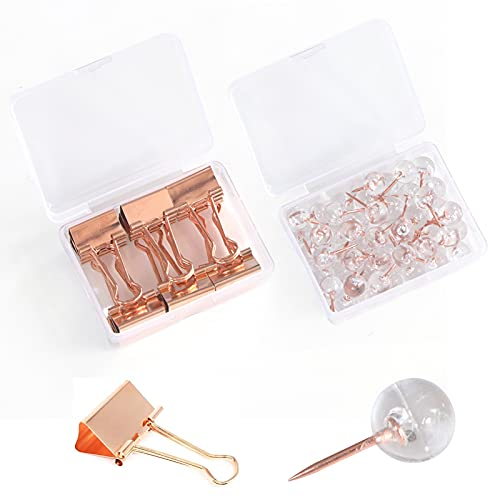 Skycase Binder Clips Set,[12 Pack] Binder Clips and [50 Pack] Push Pins,Paper Binder Clips Metal Fold Back Clips with Box for Office,School and Home Supplies