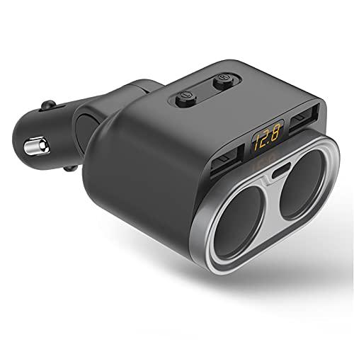 LZH FILTER Encendedor de Cigarrillos para Automóvil, 80 W, Uno para Dos, Cargador de Automóvil con Pantalla Digital USB de Doble Puerto Tipo C, Adecuado para Automóviles, Camiones Y SUV de 12-24 V