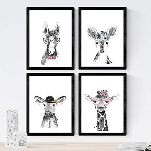 Set van 4 vellen dieren kinderen met bril en pennen op papier in A4 formaat 250 gr hoge kwaliteit. frameloze