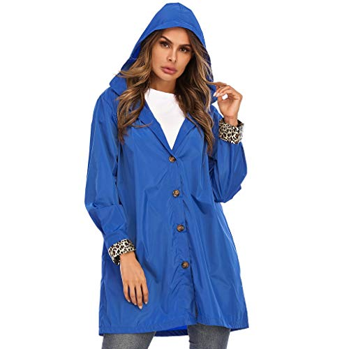 Damen Regenmantel Kapuzenjacke Regenponcho Hooded Waterproof Reißverschluss Mittellange Winddichte wasserdichte Regenjacke, Blau, M