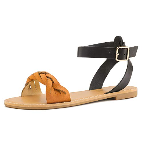 DREAM PAIRS Tan Black Summer Sandals for Women Casual Open Toes Ankle Straps Buckle Fashion Flat Sandals  Soft Faux Leather Braided One Band Comfortable Slingback Dress Cute Flat Shoes Size 8.5 M US