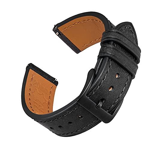 Correas de Reloj de Cuero Negro de 22 mm de liberación rápida para Mujeres, Hombres, EACHE Italy Pueblo Correas de Reloj de Cuero Vintage de Grano Superior con Hebilla Negra