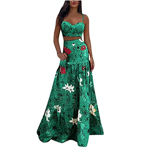 Sisifa Zweiteiliges Kleid für Frauen Boho Outfits Damen Sexy Cami Crop Top + Blumendruck Lange Rock