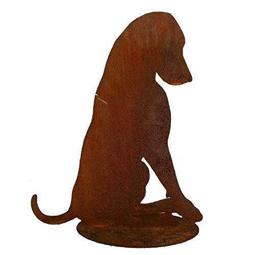 EQT-TEC *Premium* Gartendekoration Hund groß Edelrost Figur Gartenstecker Gartendeko