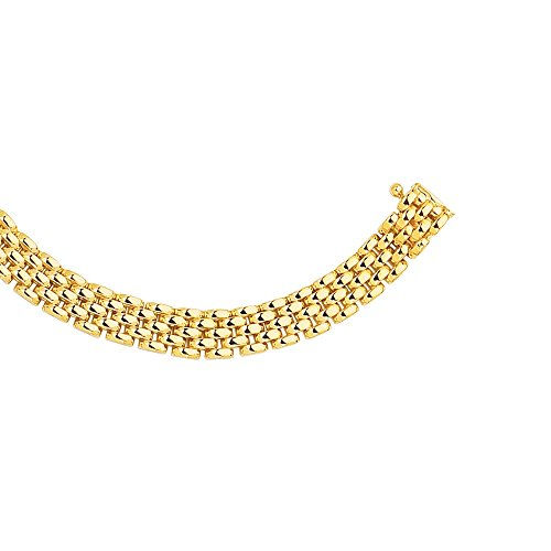 14K 17' Yellow Gold 6.5mm Shiny 5 Row Panther Chain Link Necklace with Box Catch Clasp