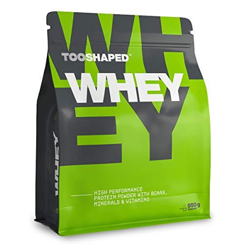 TOOSHAPED Whey Protein (NEU: Schokolade, ungesüßt), 950 g, High Performance Protein Pulver für Muskelaufbau mit BCAA, 22g Eiweiß pro Protein Shake