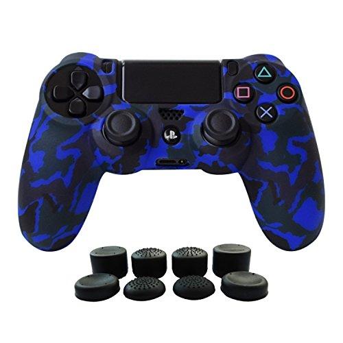 Hikfly Silikon mit Gummi-Öl-Gel-Controller Deckel Hautschutz Fall Faceplates Kits für Sony Playstation 4 PS4 / PS4 Slim / PS4 Pro Controller Videospiele mit 8 x FPS Pro Daumen Griffe Caps)(Blau)