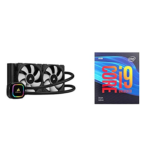 Corsair iCUE H100i RGB Pro XT, 240mm Radiator, Dual 120mm PWM Fans, Software Control, Liquid CPU Cooler with Intel BX80684I99900KF Intel Core i9-9900KF Desktop Processor 8 Cores